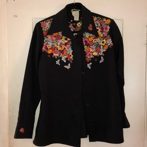 Vintage polyester button up w/ fruit embroidery